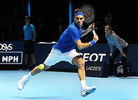 Tennis - 2018 Nitto ATP Finals at The O2 - Day Two<br /> <br /> Mens Singles : Roger Federer (SUI) v Dominic Thiem (Aut)<br /> <br /> Roger Federer of Switzerland<br /> <br /> COLORSPORT/ANDREW COWIE