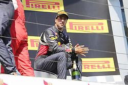 26.07.2015, Hungaroring, Budapest, HUN, FIA, Formel 1, Grand Prix von Ungarn, das Rennen, im Bild Daniel Ricciardo (Infiniti Red Bull Racing/Renault) sitzt in Gedanken auf dem Podium // during the race of the Hungarian Formula One Grand Prix at the Hungaroring in Budapest, Hungary on 2015/07/26. EXPA Pictures © 2015, PhotoCredit: EXPA/ Eibner-Pressefoto/ Bermel<br /> <br /> *****ATTENTION - OUT of GER*****
