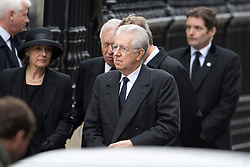 © London News Pictures.17/04/2013. London, UK.  Italian Prime Minister Mario Lamont (Centre) arriving at St Paul's Cathedral in London for The Funeral of former British Prime Minister, Margaret Thatcher on April 17, 2013. Photo credit : Ben Cawthra/LNP