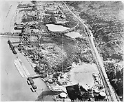 Ackroyd 22734-1. copy of aerial by Brubaker, dated 1940, showing Arkema site and the railroad bridge across the Willamette. Lettered with plots. copied in 1991. Wacker Siltronic