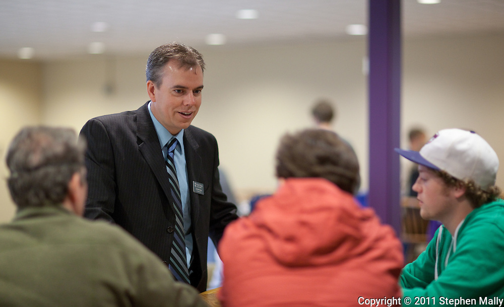 Waldorf College President-elect Bob Alsop talks to people during an open house at Waldorf College in Forest City, Iowa on Saturday, May 14, 2011.