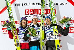 05.02.2011, Heini Klopfer Skiflugschanze, Oberstdorf, GER, FIS World Cup, Ski Jumping, Finale, im Bild Tom Hilde (NOR) 2. Platz Sieger Martin Koch (AUT) und der 3. Gregor Schlierenzauer (AUT) , during ski jump at the ski jumping world cup in Oberstdorf, Germany on 05/02/2011, EXPA Pictures © 2011, PhotoCredit: EXPA/ P. Rinderer