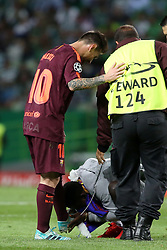 September 27, 2017 - Lisbon, Portugal - A fan of Barcelona's Argentine forward Lionel Messi enters the field and kiss his foot during the UEFA Champions League football match Sporting vs Barcelona at the Alvalade stadium in Lisbon, Portugal on September 27, 2017. Photo: Pedro Fiuza  (Credit Image: © Pedro Fiuza/NurPhoto via ZUMA Press)