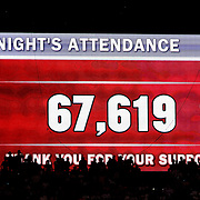 Then attendance figure on the big screen during the USA V Brazil International friendly soccer match at FedEx Field, Washington DC, USA. 30th May 2012. Photo Tim Clayton