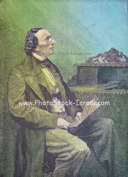 Machine colorized image of Hans Christian Andersen (2 April 1805 – 4 August 1875), in Denmark, was a Danish author. Although a prolific writer of plays, travelogues, novels, and poems, he is best remembered for his fairy tales. From the book ' The viking Bodleys; an excursion into Norway and Denmark ' by Horace Elisha Scudder Published in Boston, by Houghton, Mifflin and Company in 1885 from the BODLEY FAMILY series of books