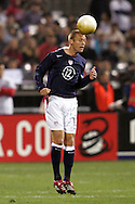 10 February 2006: Jimmy Conrad, of the U.S., heads the ball. The United States Men's National Team defeated Japan 3-2 at SBC Park in San Francisco, California in an International Friendly soccer match.