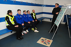 Fife Division, Roads Policing Festive launch, Central Park, Cowdenbeath, 29-11-2019<br /> <br /> Chief Superintendent Derek McEwan in the dressing room with PC's Barry Smith and Louise Wallace and Cowdenbeath players Kyle Sneddon, Connor Smith and Chris Hamilton<br /> <br /> (c) David Wardle   Edinburgh Elite media