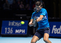 Tennis - 2019 Nitto ATP Finals at The O2 - Day One<br /> <br /> Singles Group Bjorn Borg: Novak Djokovic vs. Matteo Berrettini<br /> <br /> Novak Djokovic (Serbia) in actions and playing for the match<br /> <br /> COLORSPORT/DANIEL BEARHAM