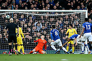 Everton forward Richarlison (30) scores a goal 1-0 during the Premier League match between Everton and Chelsea at Goodison Park, Liverpool, England on 17 March 2019.