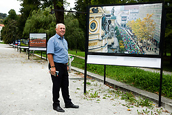 Jelko Gabrijel Ambrozic posing in front of photo of Ljubljana marathon during Opening ceremony of photo exhibition at 100 years Anniversary of Slovenian Athletic Federation, on September 17, 2020 in Tivoli park, Jakopicevo sprehajalisce, Ljubljana, Slovenia. Photo by Vid Ponikvar / Sportida