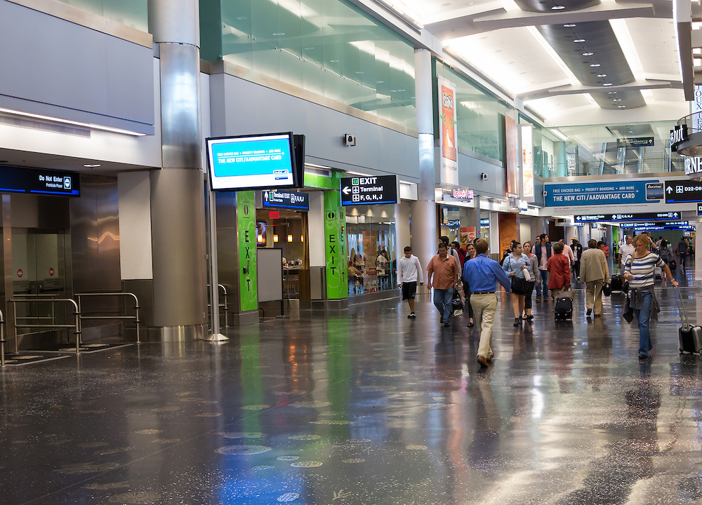 MIAMI, FLORIDA - CIRCA AUGUST 2012:  New American Airlines terminal of the Miami Intl. Airport, circa august 2012. 38 million passengers travel through the airport annually.