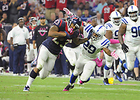 October 9th, 2014: Houston Texans Running Back Arian Foster (23) stiff-arms Indianapolis Colts Safety Mike Adams (29) during the Thursday Night Football game Houston Texans vs Indianapolis Colts at NRG Stadium in Houston, TX. NFL American Football Herren USA OCT 09 Colts at Texans PUBLICATIONxINxGERxSUIxAUTxHUNxRUSxSWExNORxONLY Icon14100919<br />