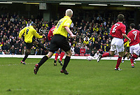 Fotball<br /> Foto: Alan Crowhurst, Digitalsport<br /> Norway Only<br /> <br /> WATFORD V CREWE Nationwide Division One<br /> 10/04/2004. Micah Hyde scores the opener for Watford.