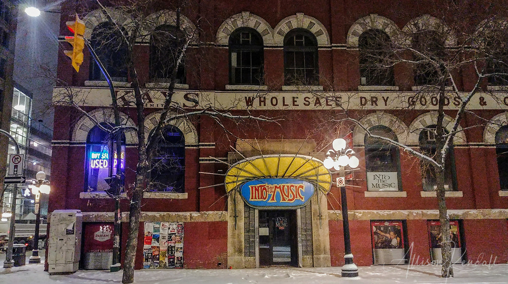 Winter night scene from the streets of the Exchange District in downtown Winnipeg, Manitoba