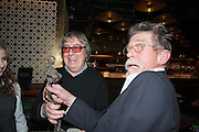 BILL WYMAN; JOHN HURT WITH HIS LIBERATUM AWARD, Liberatum Cultural Honour  for John Hurt, CBE in association with artist Svetlana K-Lié.  Spice Market, W London - Leicester Square