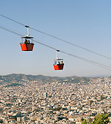 The 'Transbordador Aeri del Port' cable car at the port in Barcelona, Spain