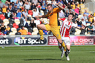 Jon Parkin of Newport county (9) shrugs off Cheltenham's Daniel O'Shaughnessy (24) and scores his teams 2ND goal to equalise at 2-2.  EFL Skybet football league two match, Newport county v Cheltenham Town at Rodney Parade in Newport, South Wales on Saturday 10th September 2016.<br /> pic by Andrew Orchard, Andrew Orchard sports photography.