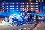 "Incident Response Unit is at the scene supporting a victim after Two Cars crashed at Newham Way (A13) off towards Rathbone Street. A ford Escort flipped over a parked up Mercedes in Canning Town, East London on Saturday, Oct 17, 2020. ""This is a notorious spot for incidents in this area,"" residents said. All people involved in the incident including children came out okay with a few needing stretchers. ""I saw an Asian lady at her early thirties that was screaming and she was saying that there were two children in the car,"" a witness told VXP Photographer at the scene. The witness told VXP that the other person who is believed to be the father was also stuck inside. (VXP Photo/ Ehimetalor Unuabona)"