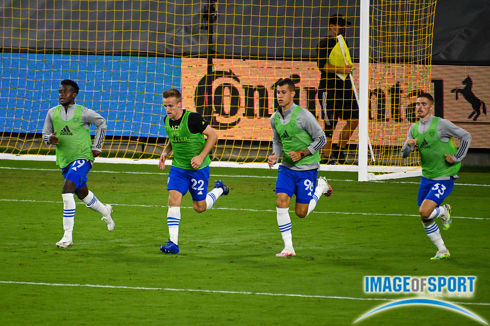 San Jose Earthquakes midfielder Siad Haji (19), forward Tommy Thompson (22), midfielder Luis Felipe (96) and defender Paul Marie (33) job on the field after a MLS soccer game, Sunday, Sept. 27, 2020, in Los Angeles. The San Jose Earthquakes defeated LAFC 2-1.(Dylan Stewart/Image of Sport)