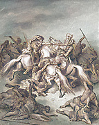 Machine Colourized (AI) Abishai Saves the Life of David 2 Samuel 21:17 From the book 'Bible Gallery' Illustrated by Gustave Dore with Memoir of Dore and Descriptive Letter-press by Talbot W. Chambers D.D. Published by Cassell & Company Limited in London and simultaneously by Mame in Tours, France in 1866
