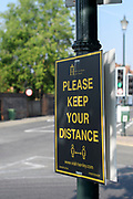 Henley-On-Thames, Berkshire, UK., Wednesday,  12/08/2020, Social Distancing sign in Henely town, [ Mandatory Credit © Peter Spurrier/Intersport Images],