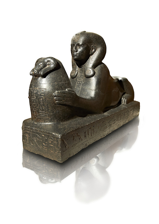25th dynasty Egyptian granite Sphinx of Shepenepet II, god's wife of Amon. 660 BC, Karnak. Neues Reiche Museum, Berlin. Cat No AM7972 .<br /> <br /> If you prefer to buy from our ALAMY PHOTO LIBRARY  Collection visit : https://www.alamy.com/portfolio/paul-williams-funkystock/ancient-egyptian-art-artefacts.html  . Type -   Neues    - into the LOWER SEARCH WITHIN GALLERY box. Refine search by adding background colour, subject etc<br /> <br /> Visit our ANCIENT WORLD PHOTO COLLECTIONS for more photos to download or buy as wall art prints https://funkystock.photoshelter.com/gallery-collection/Ancient-World-Art-Antiquities-Historic-Sites-Pictures-Images-of/C00006u26yqSkDOM