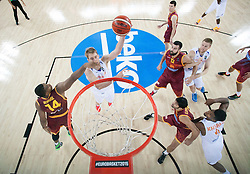 Richard Hendriks of Macedonia vs Henk Norel of Netherlands during basketball match between Netherlands and Macedonia at Day 2 in Group C of FIBA Europe Eurobasket 2015, on September 6, 2015, in Arena Zagreb, Croatia. Photo by Vid Ponikvar / Sportida