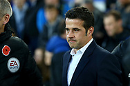 Watford Manager Marco Silva looks of from the dugout. Premier league match, Everton vs Watford at Goodison Park in Liverpool, Merseyside on Sunday 5th November 2017.<br /> pic by Chris Stading, Andrew Orchard sports photography.