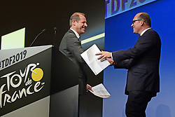October 25, 2018 - Paris, France - PRUDHOMME Christian (FRA) Director of ASO and Philippe Close, major of Brussels, pictured during the presentation of the 2019 Tour de France at the Palais des Congres (Credit Image: © Panoramic via ZUMA Press)