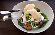 The House Salad, comprised of bibb lettuce, house-made pork rinds, radish, bacon lardons, pickled shallots and chives with buttermilk dressing, is a menu favorite at Frankly on Cherokee, a restaurant on the Cherokee Street corridor in the Gravois Park neighborhood of St. Louis, as photographed Wednesday, Jan. 31, 2018<br /> <br /> Photo by Sid Hastings
