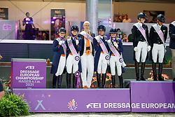 Team Netherlands, Dijkstra Devenda, Poelman Jessica, De Koeyer Jasmien, Van Zwambagt Febe<br /> European Championship Dressage - Hagen 2021<br /> © Hippo Foto - Dirk Caremans<br /> 08/09/2021
