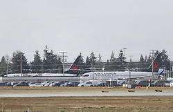 VANCOUVER, March 13, 2019  Two Air Canada Boeing 737 Max 8 aircraft are seen at Vancouver International Airport in Richmond, Vancouver, Canada, March 13, 2019. Canada is grounding all its Boeing 737 Max 8 and 9 aircraft and banning the jets from its airspace following the Ethiopian Airlines crash that killed all 157 people on board, including 18 Canadians. (Credit Image: © Liang Sen/Xinhua via ZUMA Wire)