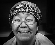 Elisapie Nutara, a very smiling elder that i have met while she was sewing the seal skin.