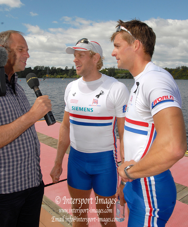 Hamilton, New Zealand, 2010  World Rowing Championships, Lake Karapiro Saturday  06/11/2010 Sir Steve REDGRAVE, interviews GBR M2-, Peter REED,[right] , and Andrew TRIGGS HODGE left] [Mandatory Credit Karon Phillips/Intersport Images]