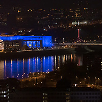 Budapest landmark Palace of Arts is seen in blue decoration light honouring the World Autism Day in Budapest, Hungary on April 2, 2020. ATTILA VOLGYI