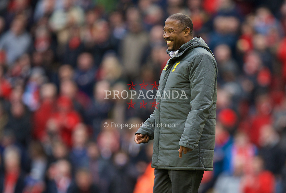 LIVERPOOL, ENGLAND - Sunday, March 1, 2015: Former Liverpool and England player John Barnes on the pitch at the half-time interval during the Premier League match against Manchester City at Anfield. (Pic by David Rawcliffe/Propaganda)