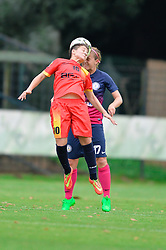 Andreea Voicu of Olimpia Cluj Napoca vs.  Anja Prsa of ZNK Pomurje during the UEFA Women's Champions League Qualifying Match between ZNK Teleing Pomurje (SLO) and Olimpia Cluj (ROU) at Sportni Park on August 16, 2015 in Beltinci, Slovenia. Photo by Mario Horvat / Sportida