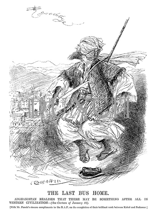 The Last Bus Home. Afghanistan realises that there may be something after all in western civilisation - (see cartoon of January 23). [With Mr Punch's sincere compliments to the RAF on the completion of their brilliant work between Kabul and Peshawar.] (an InterWar cartoon showing a tribal Afghan jumping on a western hat while looking up at an RAF plane which has spelt the word Goodbye with its trail)