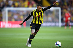 """Watford's Etienne Capoue during the Premier League match at Vicarage Road, Watford PRESS ASSOCIATION Photo. Picture date: Saturday September 15, 2018. See PA story SOCCER Watford. Photo credit should read: Nigel French/PA Wire. RESTRICTIONS: EDITORIAL USE ONLY No use with unauthorised audio, video, data, fixture lists, club/league logos or """"live"""" services. Online in-match use limited to 120 images, no video emulation. No use in betting, games or single club/league/player publications."""