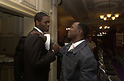 Olympic gold medalist? Audley Harrison and Chris Eubank. The City Fashion Show and dinner in aid of the NSPCC. Harrod's. 10 October 2000. © Copyright Photograph by Dafydd Jones 66 Stockwell Park Rd. London SW9 0DA Tel 020 7733 0108 www.dafjones.com