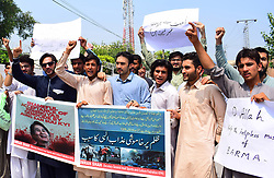 September 8, 2017 - Pakistan - PESHAWAR, PAKISTAN, SEP 07: Members of Sports and Cultural Federation of KPK are .holding protest demonstration against Muslim massacre in Burma outside Peshawar press club.on Thursday, September 07, 2017. (Credit Image: © PPI via ZUMA Wire)