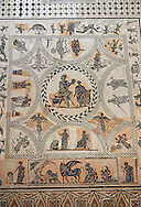 3rd century black & white Roman Mosaics from Merida, Merida Archaeological Museum, Spain . Emerita Augusta (Merida)  was founded as a Roman colony in 25 BC under the order of the emperor Augustus to serve as a retreat for the veteran soldiers (emeritus) of the legions V Alaudae and X Gemina. The city, one of the most important in Roman Hispania, The archeological site in the city has been a UNESCO World Heritage site since 1993.<br /> <br /> Visit our SPAIN HISTORIC PLACES PHOTO COLLECTIONS for more photos to download or buy as wall art prints https://funkystock.photoshelter.com/gallery-collection/Pictures-Images-of-Spain-Spanish-Historical-Archaeology-Sites-Museum-Antiquities/C0000EUVhLC3Nbgw <br /> .<br /> <br /> Visit our ROMAN ART & HISTORIC SITES PHOTO COLLECTIONS for more photos to download or buy as wall art prints https://funkystock.photoshelter.com/gallery-collection/The-Romans-Art-Artefacts-Antiquities-Historic-Sites-Pictures-Images/C0000r2uLJJo9_s0
