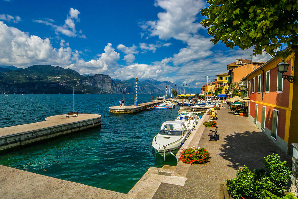 Garda Lake in Italy.  The lake is a major tourist destination, including a number of exclusive hotels and resorts along its shore.