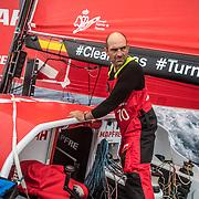 Leg 02, Lisbon to Cape Town, day 07, on board MAPFRE, Xabi Fernandez apoyado en el hatch y mirando hacia Vestas que esta detrás. Photo by Ugo Fonolla/Volvo Ocean Race. 11 November, 2017