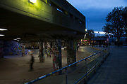 Night view of the Undercroft sakteboarding area on the Southbank, London, United Kingdom. The South Bank is a significant arts and entertainment district, and home to an endless list of activities for Londoners, visitors and tourists alike. (photo by Mike Kemp/In Pictures via Getty Images)