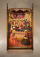 Gothic altarpiece of the Dormition of the Madonna (Dormicio de la Mare de Dieu) by Pere Garcia de Benavarri, circa 1460-1465, tempera and gold leaf on wood.  National Museum of Catalan Art, Barcelona, Spain, inv no: MNAC  64040. Against a art background. . .<br /> <br /> If you prefer you can also buy from our ALAMY PHOTO LIBRARY  Collection visit : https://www.alamy.com/portfolio/paul-williams-funkystock/gothic-art-antiquities.html  Type -     MANAC    - into the LOWER SEARCH WITHIN GALLERY box. Refine search by adding background colour, place, museum etc<br /> <br /> Visit our MEDIEVAL GOTHIC ART PHOTO COLLECTIONS for more   photos  to download or buy as prints https://funkystock.photoshelter.com/gallery-collection/Medieval-Gothic-Art-Antiquities-Historic-Sites-Pictures-Images-of/C0000gZ8POl_DCqE