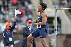 April 27, 2018 - Philadelphia, Pennsylvania, U.S - DEVIN BRADHAM (24) from Penn State competes in the High Jump during the meet held in Franklin Field in Philadelphia, Pennsylvania. (Credit Image: © Amy Sanderson via ZUMA Wire)