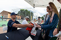 KELOWNA, CANADA - JUNE 28: Event organizers and former Kelowna Rockets players, NHL Dallas Stars player Blake Comeau and retired NHL player Josh Gorges sign autographs for fans prior the opening charity game of the Home Base Slo-Pitch Tournament fundraiser for the Kelowna General Hospital Foundation JoeAnna's House on June 28, 2019 at Elk's Stadium in Kelowna, British Columbia, Canada.  (Photo by Marissa Baecker/Shoot the Breeze)