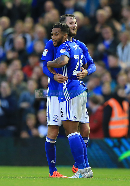 Birmingham City's David Davis (front) celebrates scoring his side's second goal of the game against Crawley Town with Jonathan Grounds