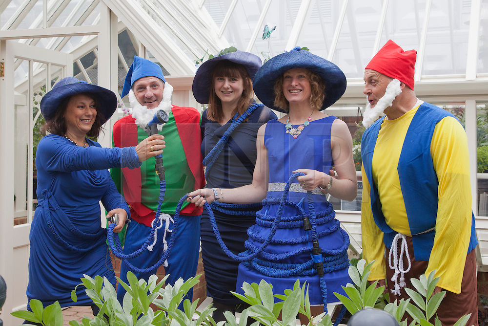 © Licensed to London News Pictures. 20/05/2013. London, England. Garden Gnomes and Ladies in Blue. Celebrities at Press Day Monday of the RHS Chelsea Flower Show. Photo credit: Bettina Strenske/LNP
